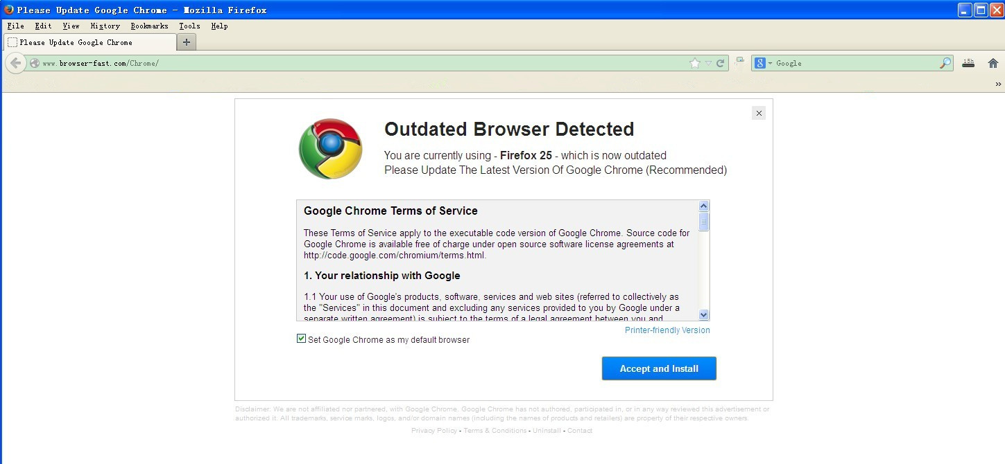 How to remove Outdated Browser Detected POP-UP Scam