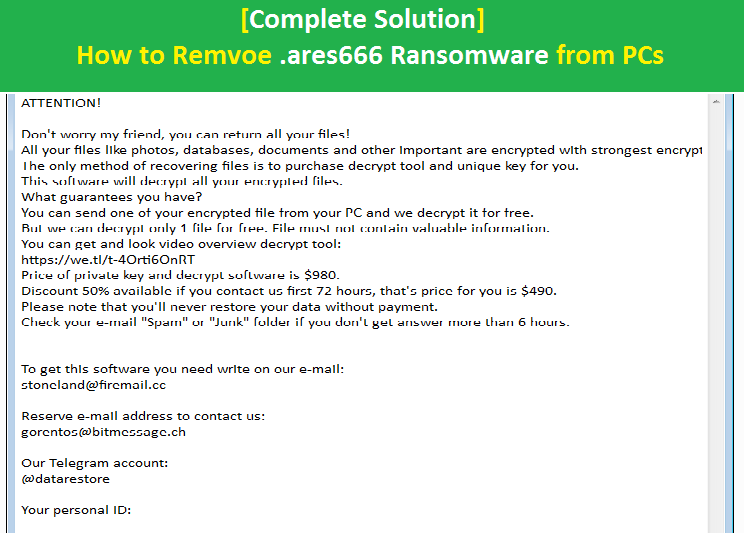 How to remove  ares666 Ransomware from PCs [Complete Solution